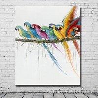 Parrots pictures nice bird canvas art handmade house painting decorative for kitchen wall decor