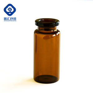 Medical Amber Glass Vial Bottle Ring Finish Full Size with Rubber Stopper and Cap