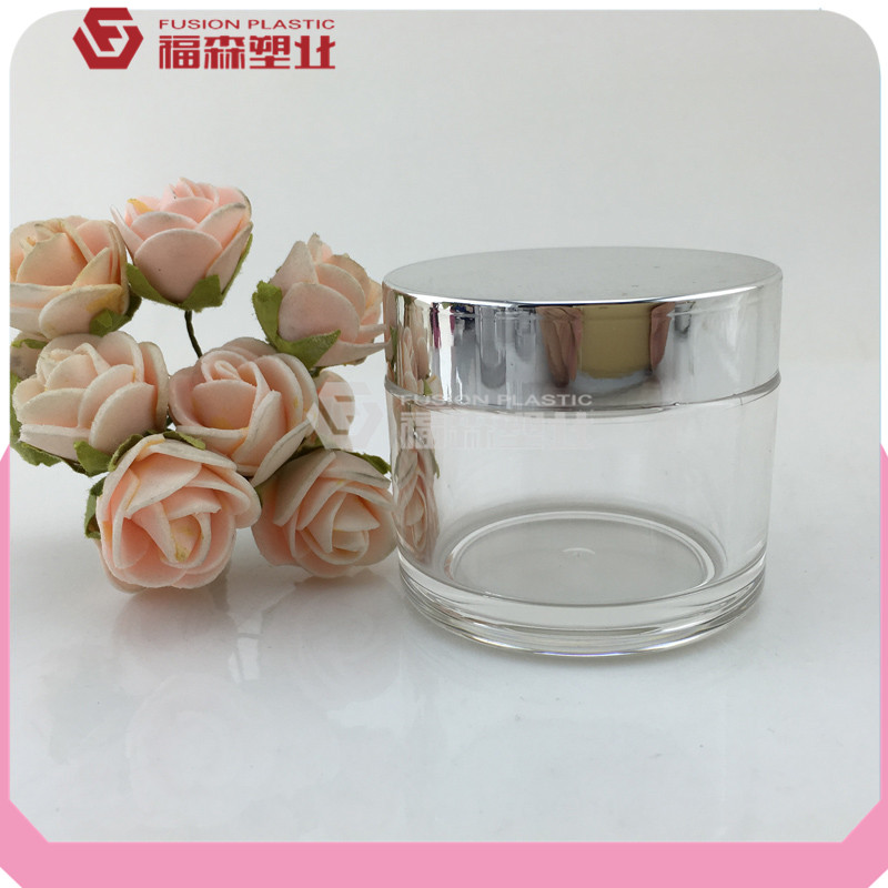 Fast delivery time empty transparent cosmetic jars 50ml 80ml PETG single wall cosmetic jars