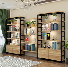 Modern office wooden display showcase anti-rust metal frame and MDF rack with storage cabinet for show room