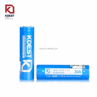 Kdest rechargeable 30a battery 18650 3500mah 3.7v lithium li ion battery for e cig