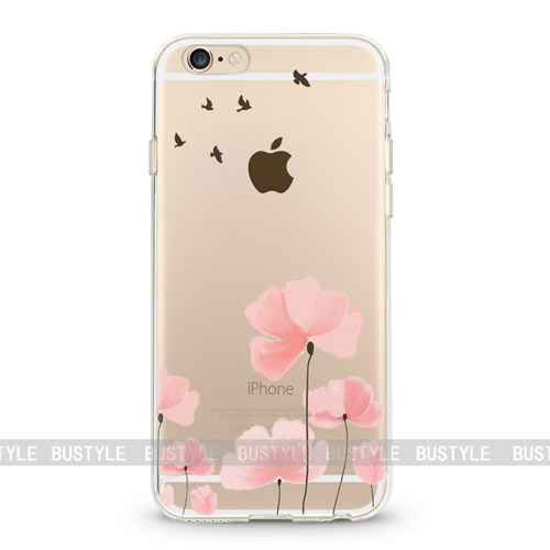 Transparent clear for iPhone 6 case, print mandala flower for iPhone 7 case