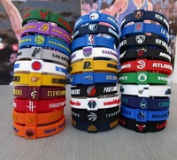 wholesale 31 teams cheap custom embossed men basketball silicone bracelet