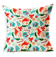 promotional colorful cotton linen santa sublimation pillow case