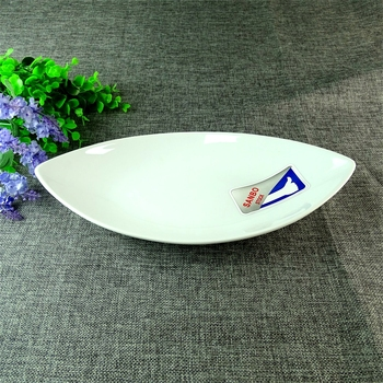 Chaozhou Wholesale Restaurant Stoneware White Fish Dinner Plate