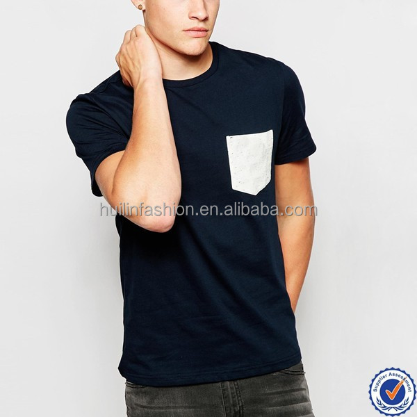 guangzhou garment factories in China contrast pocket t-shirts men slim fit