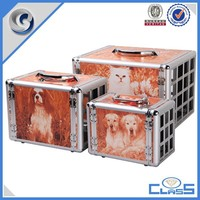fancy customed high quality handle aluminum animal pet case