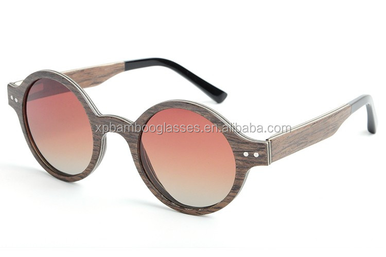 Fashion women round walnut wood sunglasses with gradient brown polarized lens