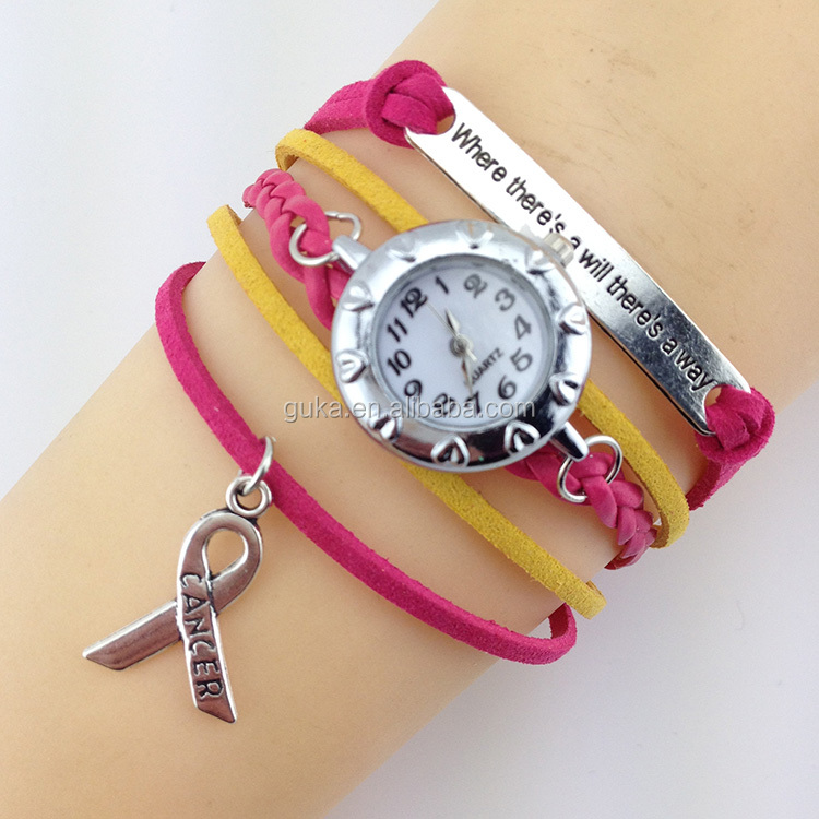 Hot sale pink leather silver ribbon charm watch bracelet with floating charm locket