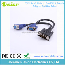 DVI-I 24+5 Pins Male to Dual VGA 15 Female Monitor Y-Splitter Cable Adapter