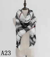 Natural feelings soft cozy big grid tartan striped long women scarf wraps