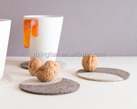 Set of round felt coasters, high quality light grey felt coasters