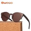 Wholesale Eco-friendly half rim red bamboo round sunglasses brand