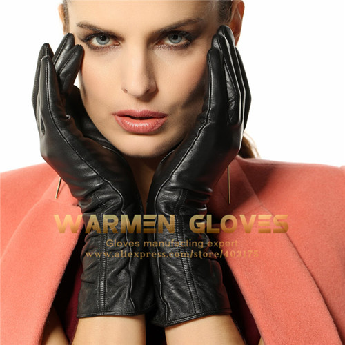 Warmen Winter warm Touch Screen 100%Lambskin Long Ladies Leather Gloves