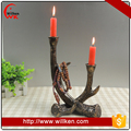 Silver design resin church candle holder with tealight