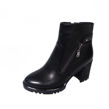 Vintage Style Black Leather Side Zipper Elastic Medium Chunky Heeled Women Short Ankle Boots