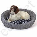 Oval Wicker Dog Puppy Basket Pet Bed Sofa Washable Cushion