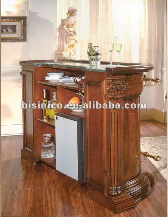 Antique Style Solid Wood Bar Table With Marble Top