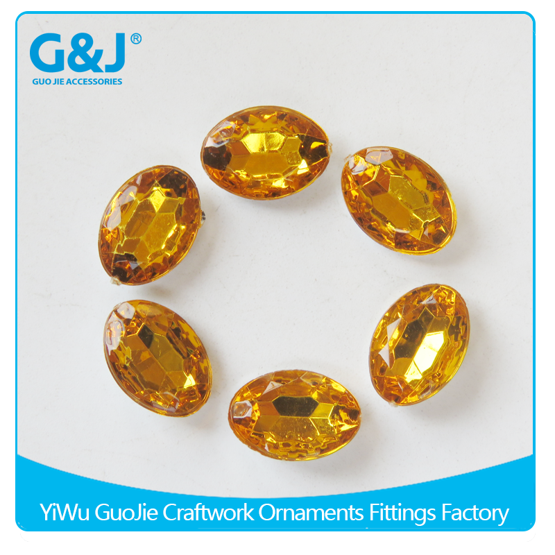 guojie brand factory sale for embellished garment ellipse shape Pointback type acrylic stones crystal  beads