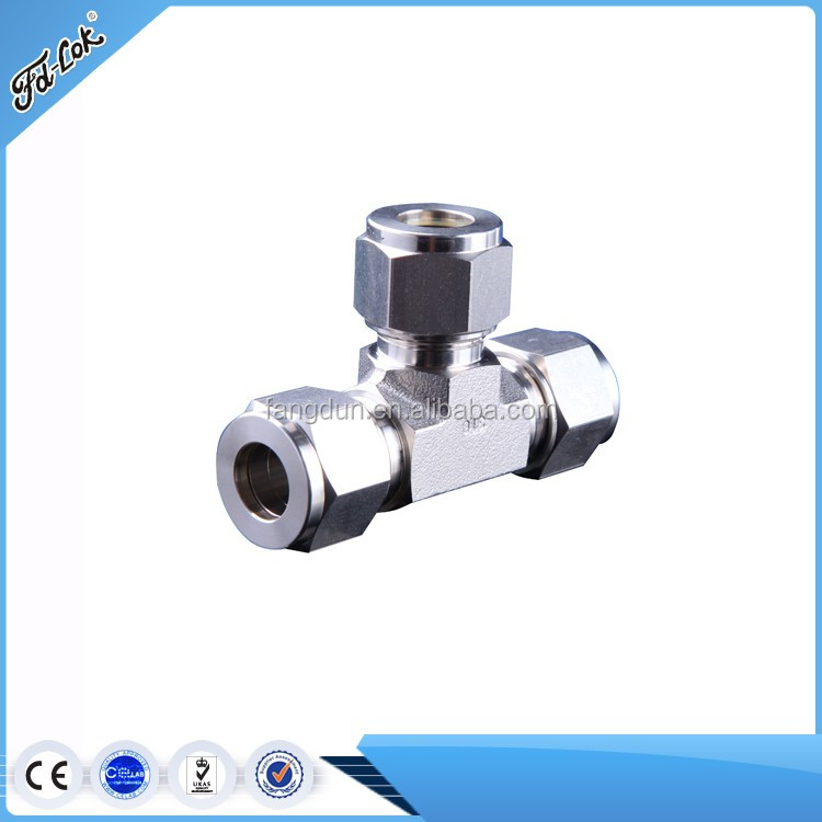 union tee stainless steel tube fitting/best stainless steel 316 reducing union tee tube(lok) fitting/Hexagon ss 4mm union tee