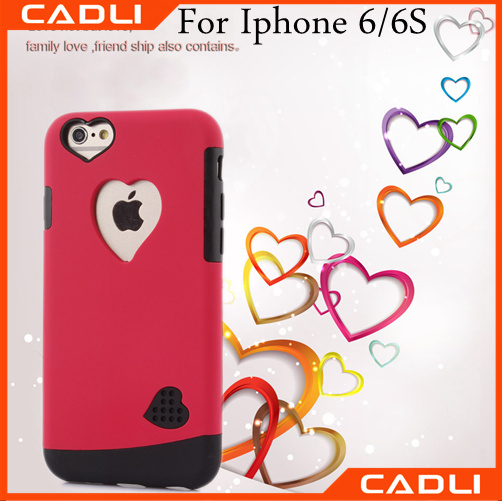 2016 cobblestone dual tpu+pc heart Pattern new design phone case for Iphone 6 6S