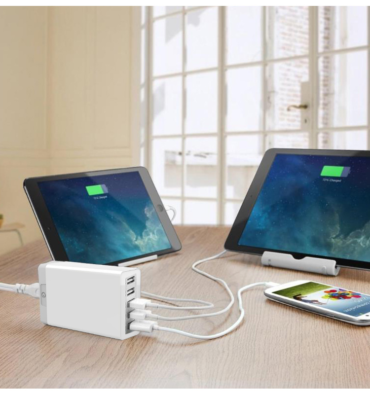 Ultra-slim Power IQ Portable 42W/8A 5 Port USB Wall Charger Supported With EU/US/UK/AU/AC Cable Plug