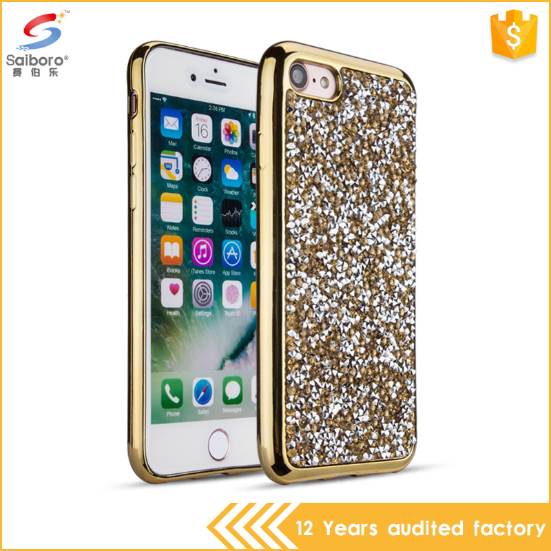 Cell phone accessories full diamond case for iphone 7,diamond skin covers high quality for iphone 6 7