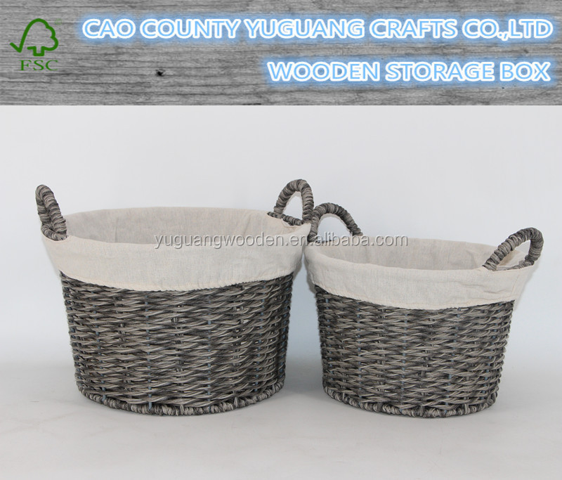 Custom Handmade Grey Color PP Wicker Woven Basket