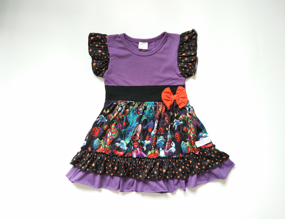 Wholesale high quality kids wear flutter sleeve lovely cartoon print ruffle summer fancy baby girls dress