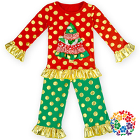 2015 New product kids Red Green Xmas Tree Design pajamas Ruffle Polka Dot Long Sleeve Shirt With Pant Christmas Outfit Set