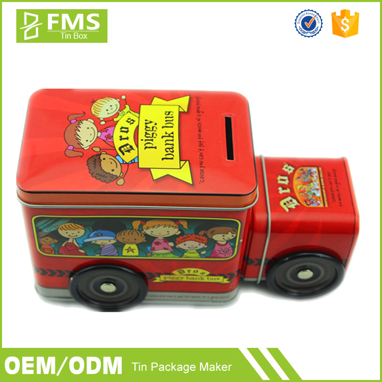 Custom Printed Cute Funny Metal Tin Train Shaped Packaging Box For Money Saving, Amazing Candy Cookie Tin Box