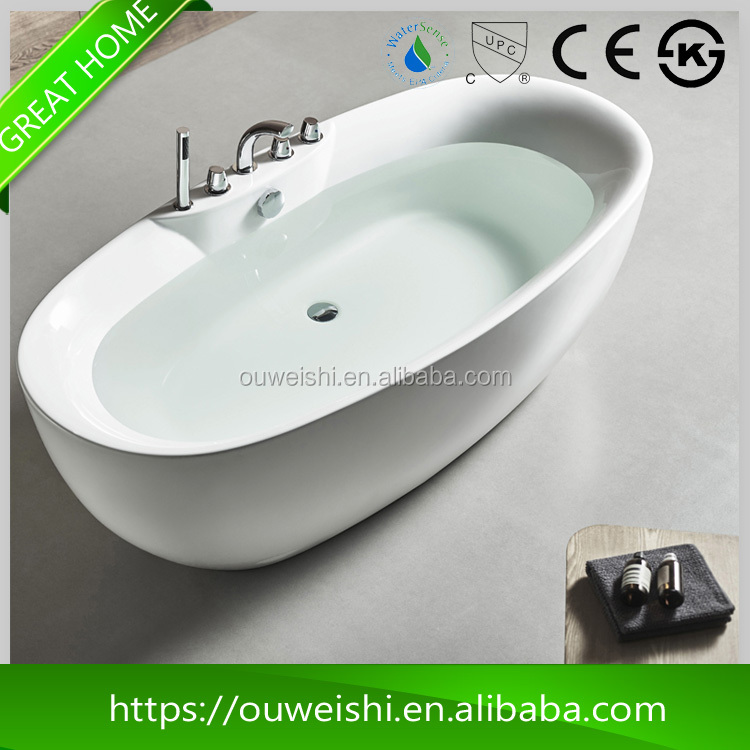 High quality low price pure acrylic super-thin border Seamless technology white bath tub