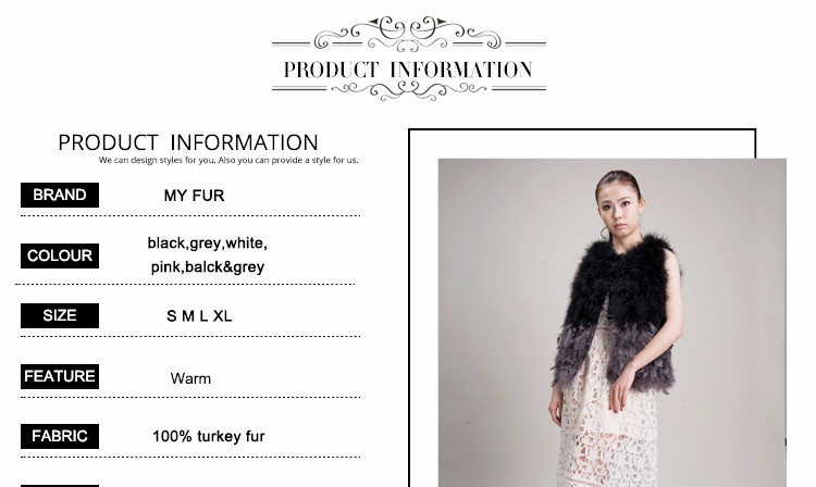Spell color balck&grey hand make womens real turkey fur vest
