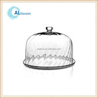 decorative clear glass cake plate and dome glass bell jar dome