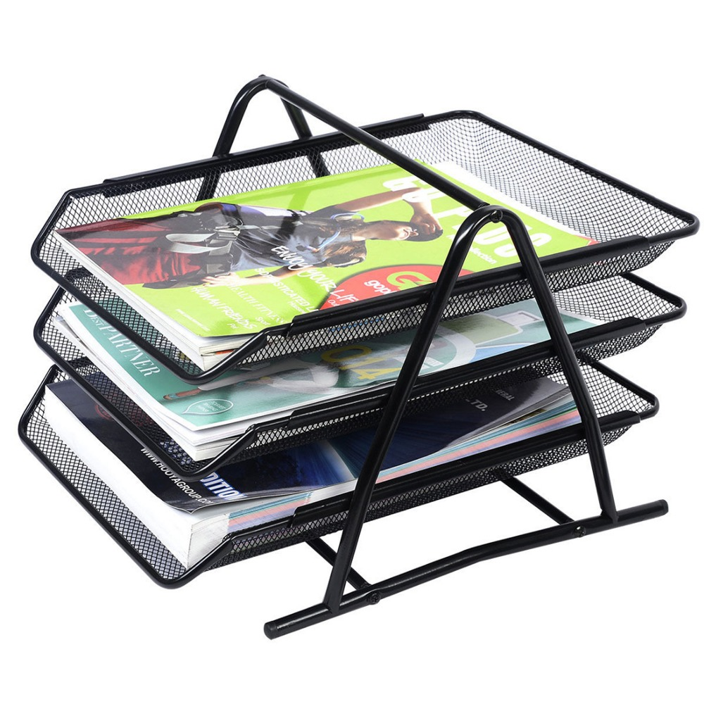 Metal 3 tier Metal document trays A4 Paper Office Mesh Document File Paper Letter Tray Organiser Holder