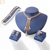 anti allergy fashion exaggerate crystal gold jewelry sets 2019