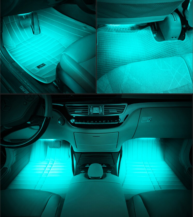 7 colors smd5050 car interior atmosphere light led footwell decoration light buy led. Black Bedroom Furniture Sets. Home Design Ideas