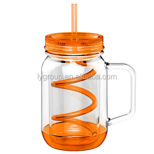 Factory direct 20OZ Double Wall Insulated Acrylic Mason Jar Mug With Handle, Lid And Straw/ glass travel cup mason jar