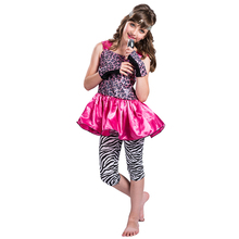 Kids Party Wear Dresses For children Girls super start Singer role play carnival party fancy dress costumes