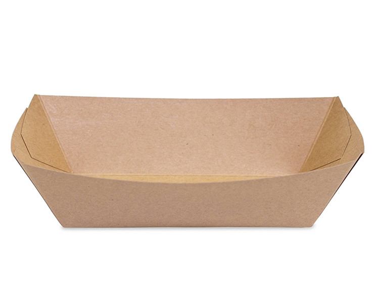 Hot Dog Recycled Brown Kraft Paper Boat Shape Food Trays Gift Box For Promotion