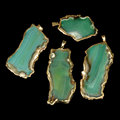 Gold or Silver Edge Plated Green Blue Black Agate Slab Pendant For Jewelry