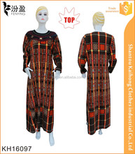 2016 new fashion design women checks print dubai abaya with decoration