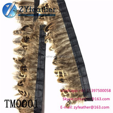China Wholesale FM0001 Natural Almond Pheasant Fringe 2.5inch Pheasant Feather Trim