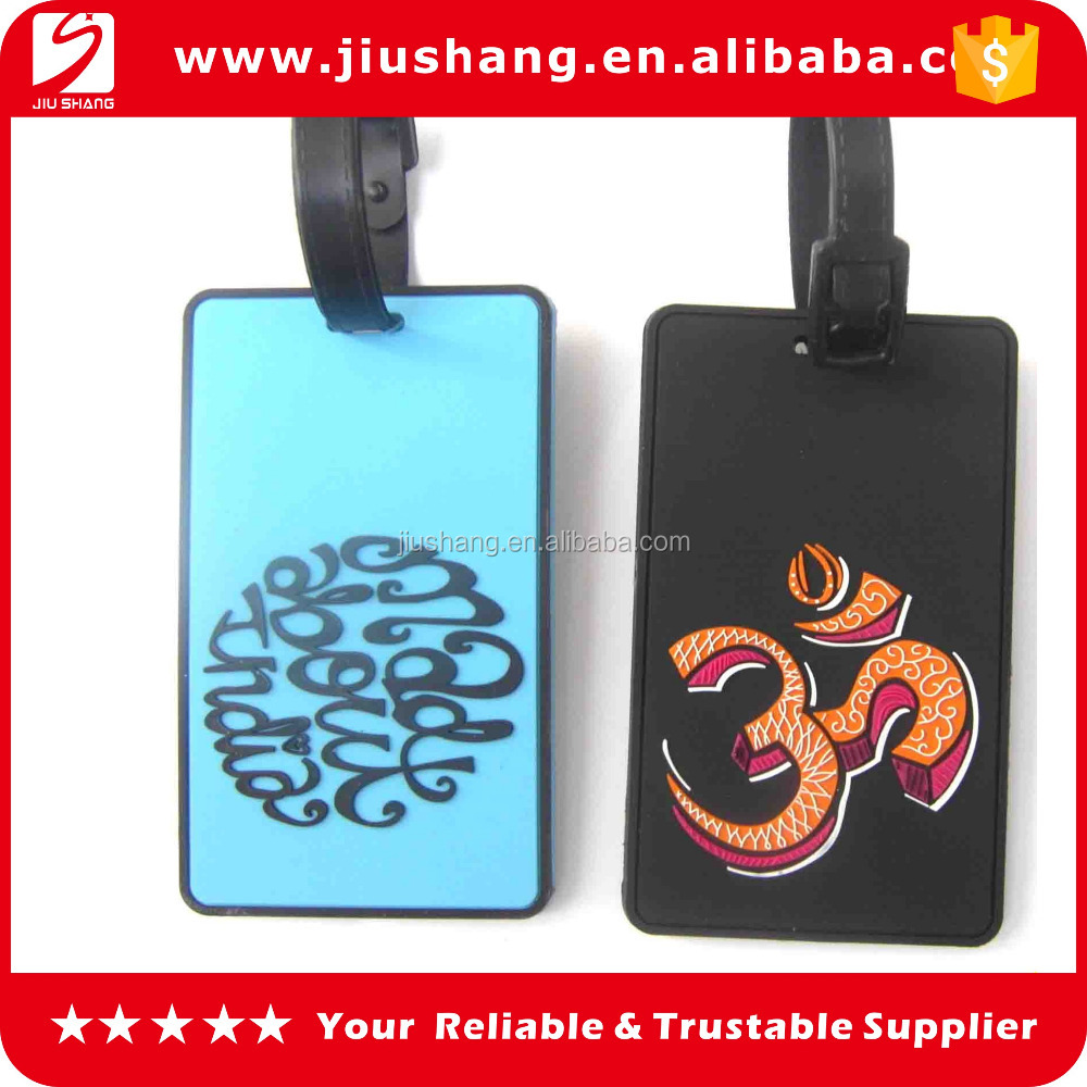 black suitcase pvc luggage tag maker with custom logo