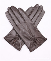 Short Black Sex Ladies Leather Gloves With Elastic on Both Palm and Back Side