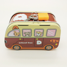 Novelty pretty custom metal tin bus shaped lock pover coin bank with key