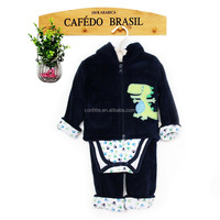 cute embroidery design baby boys black 3 pcs clothing set