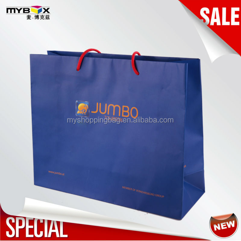 Customized flat printed laminated durable best price high quality recycle paper shopping bag