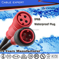 3 Pins IP68 Male And Female Plug Power Waterproof Extension Cord