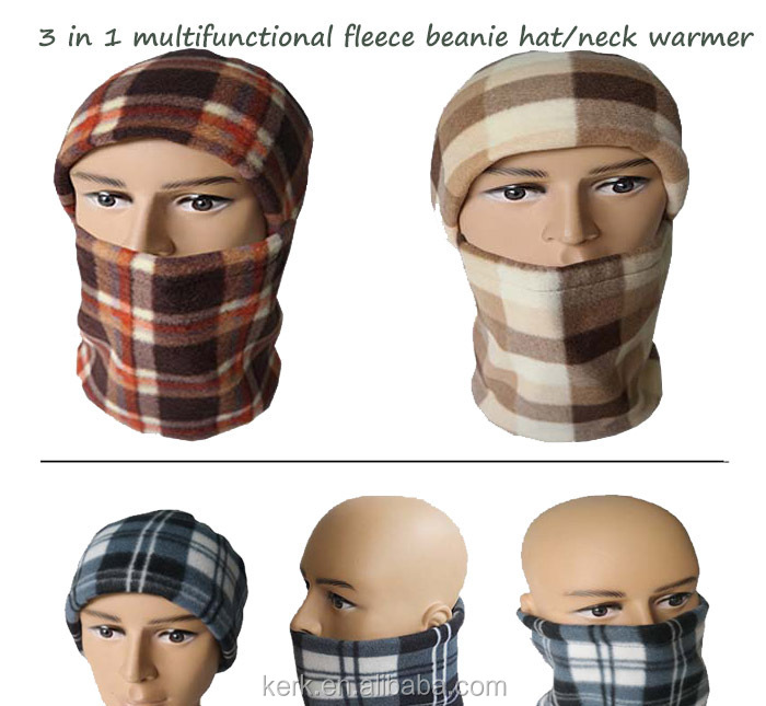 Multifunctional 3in1 polar fleece balaclava and neck tube warmer